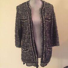 ZARA KNIT Small S Gray Tweed Fantasy Boucle Chain Accent Cardigan Jacket Blazer