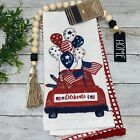 Embroidered Farm Red Truck (2) Kitchen Towel Patriotic 4th of July Independence