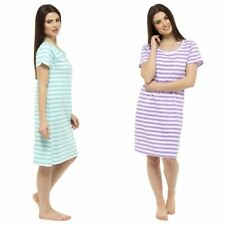 Womens Follow That Dream Cotton Short Sleeve Nightshirt Heart Print or Stripe