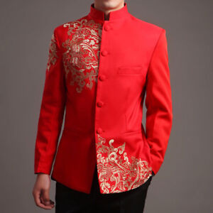 Mens Embroidery Chinese Style Tang Suit Wedding Groom Jacket Host Stage Coat
