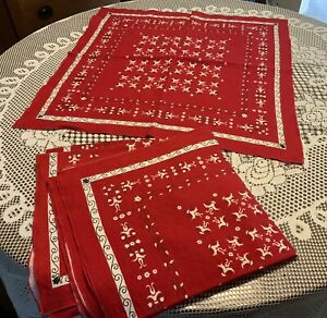 "5 Vintage 24"" square Red Bandanas"