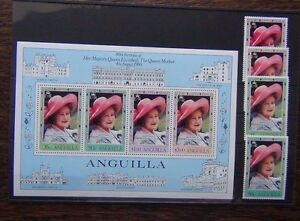 Anguilla 1980 Queen Mother set & Miniature sheet MNH