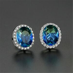 Indicolite Bi Color Blue Tourmaline Earrings Wt Gold Pltd CZ Halo 6 Carats #1231