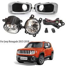 For Jeep Renegade 2015-2018 Fog Light Chrome Cover Bezel Wiring Kit Driving Lamp