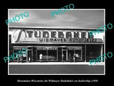 OLD POSTCARD SIZE PHOTO OF MENOMINEE WISCONSIN THE STUDEBAKER CAR STORE c1950