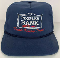 Peoples Bank Snapback Hat Cap MADE IN USA Adjustable NVY Blue Mens Colonial Line