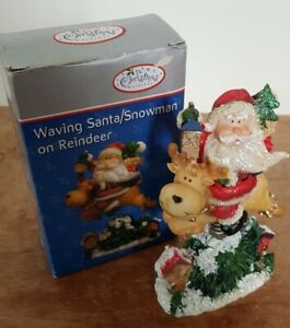 Christmas Waving Santa On Reindeer Spring Figurine Boxed Festive Ornament
