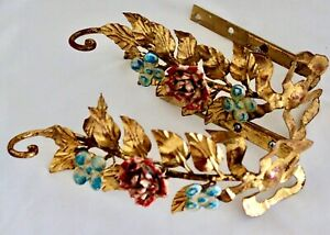 """Exceptional Pair Italian Gilt Gold Metal Toleware Floral 10.5"""" Curtain Tie Backs"""