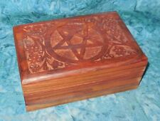 """Pentacle Wood Trinket Box NEW Flowers Vines 11.8oz 6"""" Hand crafted Decorative"""