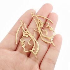10Pcs Raw Brass Face Shape Charms Pendants DIY Jewellery Earring Making Findings