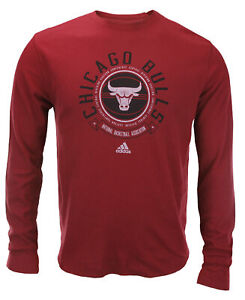 Adidas NBA Men's Chicago Bulls Off The Bench Long Sleeve Thermal Shirt - Red