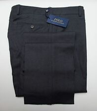 NEW Polo Ralph Lauren Slim Fit Dark Gray Flat Front Wool Trouser Dress Pants 30