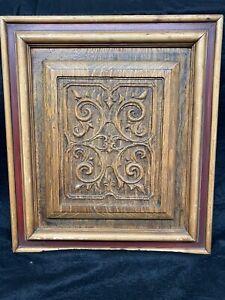 American Quartered Oak Carved Panel Framed Excellent Condition