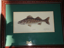 NEW  1 framed and matted WALLEYE Watercolor PRINT
