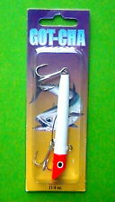 "SEA STRIKER 3 1/8"" GOT-CHA WHITE BODY ORANGE HEAD 1.25 oz  FISHING LURE #G1401"
