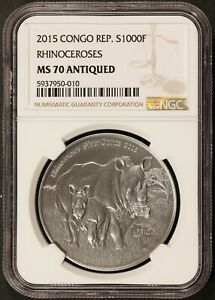 2015 Congo 1000 Francs Rhinoceroses Antiqued 1 oz Silver Coin - NGC MS 70