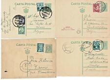 1933-1935 Romania 4x 3 Lei postcard Charles  to Zam, Turdas and Belgium Aviation