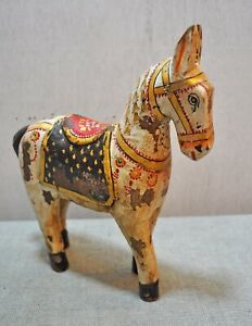 Fine Hand Carved Hand Painted Wooden India Ethnic Walking White Horse Figurine