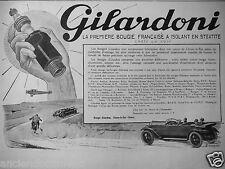 PUBLICITÉ 1927 GILARDONI LA PREMIÈRE BOUGIE FRANÇAISE A ISOLANT STEATITE
