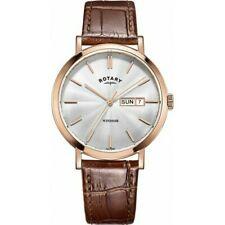Rotary Windsor Mens Brown Leather Watch rose gold day/date GS05304/02 RRP £129