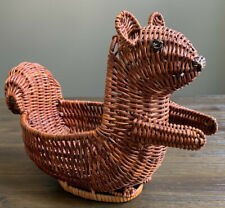 "Vintage Squirrel Woven Basket Holds Nut In Hands 12"" x 9"" x 6"""