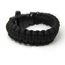 1pcs Paracord Parachute Rope Bracelet Wristband Survival Camping Climbing black