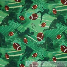 BonEful FABRIC FQ Cotton Quilt Green Grass Field Foot*Ball Soccer Boy Sport Camp