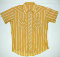 Vintage Golden Wheat Pearl Snap Shirt Sz L Textured 60s Kurt Cobain Grunge