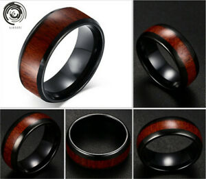 NEW Wood Gorgeous Black Stainless Steel Men Bussiness Ring Band Size 13