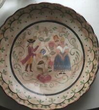 1850'S Antique Primitive Courting Wedding Bowl COLONIAL Folk Art Dutch Rev War