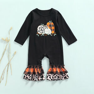 NEW Pumpkin Baby Girls Black Ruffle Halloween Romper Jumpsuit
