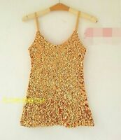 Women Party Dance Shine Bling SEQUINED Sequins Cami Singlet Strap Tank Vest