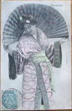 Western Woman in Geisha Costume w/Fan, Glitter - 1904 Postcard