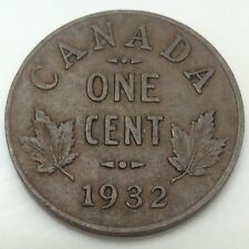 1932 Canada One 1 Cents Small Penny Circulated Canadian Coin D514