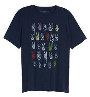 John Varvatos Star USA Men's Short Sleeve Rows of Peace Signs Crew T-Shirt Navy