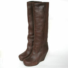 RICK OWENS $2,290 tall brown leather pull on higher wedge heel boots 11/41 NEW