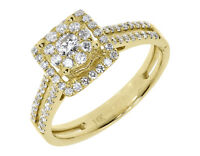 14k Yellow Gold Ladies Round Cluster Diamond Halo Engagement Wedding Ring 0.75ct