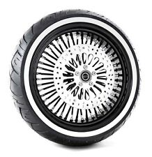 Ultima Black Out 18 x 5.5 48 Fat King Spoke Rear Wheel Tire Package Harley WW