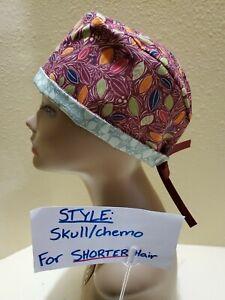 Fall Leaves (burgandy) Women's Skull/Chemo Surgical Scrub Hat/Cap Handmade