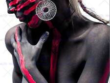 PHOTOGRAPH PORTRAIT COMPOSITION BODY PAINT WOMAN RED POSTER ART PRINT BB12278B