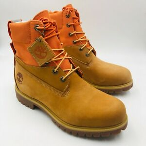"Timberland 6"" Premium Waterproof Wheat Nubuck/Orange Boot A2EAC, Men's 9 M"