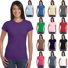 Maglietta Maniche Corte Donna T-Shirt Attillata Tinta Unita Gildan Softstyle