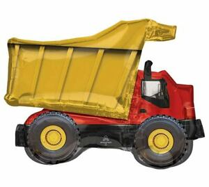 """Dump Truck Construction Red Black Gold 32"""" Large Foil Balloon Party Birthday BIG"""