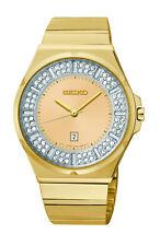 NEW SEIKO SXDF72 Gold Tone Stainless Steel Swarovski Crystal Elements Watch
