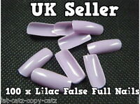100 x LILAC PURPLE FALSE FAKE FRENCH FULL COVER NAILS 10 SIZES MAKE UP UK SELLER