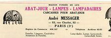 ANDRE MESSAGER ABAT JOUR LAMPE LAMPADAIRE PARIS PUBLICITE PUB 1929 FRENCH AD