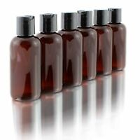 4oz Empty Amber Brown Plastic Squeeze Bottles with Disc Top Flip Cap (6 pack)...