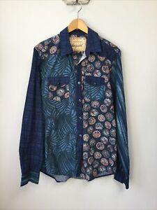 Men's Desigual Blue Patterned Shirt, UK Size Large, Good Condition