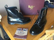 Dr Martens pascal black leather boots UK 9 EU 43 1460 boanil ENGLAND vintage MIE