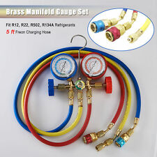 R134A R12 R22 R502 Diagnostic Brass Manifold Gauge ACME Adapter & 5FT Hoses.